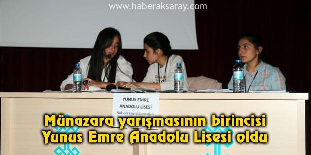 Münazara yarışmasının birincisi Yunus Emre Anadolu Lisesi
