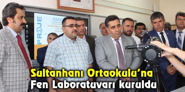 Sultanhanı Ortaokulu'na Fen Laboratuvarı kuruldu
