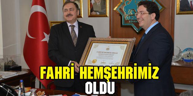 Bakan Eroğlu fahri hemşehrimiz oldu