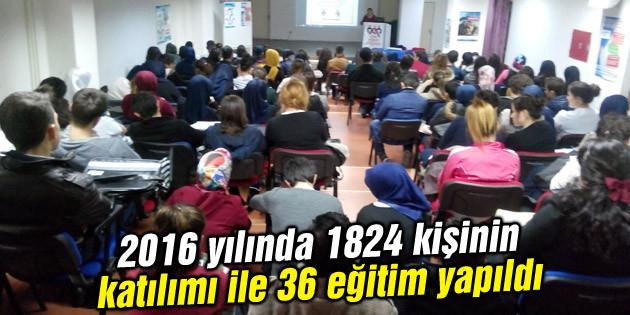 2016 yılında 1824 kişinin katılımı ile 36 eğitim yapıldı