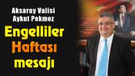 Vali Aykut Pekmez'den Engelliler Haftası mesajı