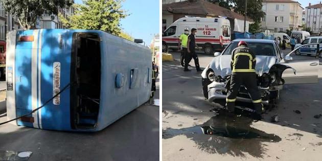 İşçi servisi ile otomobil çarpıştı: 12 kişi yaralandı