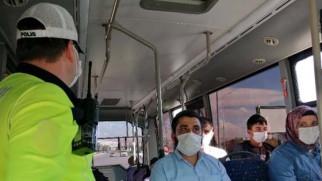 Aksaray'da şehir içi yolcu otobüslerinde korona denetimi