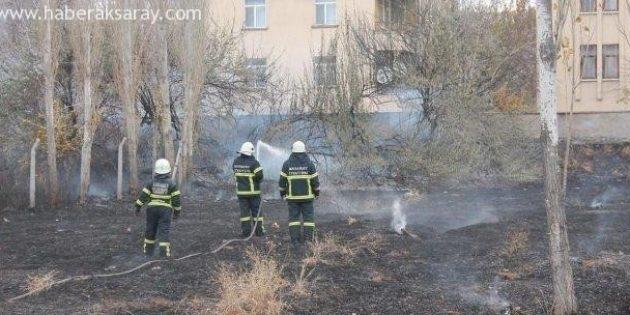 Aksaray'da ot yangını