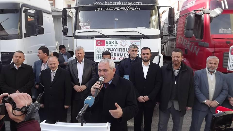 Eskil'den Bayırbucak Türkmenlerine 4 tır yardım