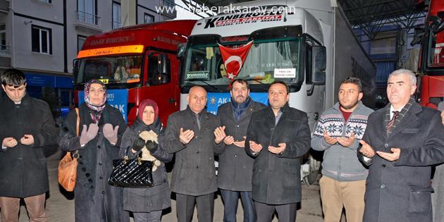 AK Parti'nin 4 tır yardımı dualarla yola çıktı