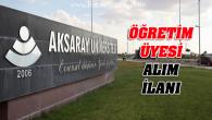 Aksaray Üniversitesi öğretim üyesi alım ilanı