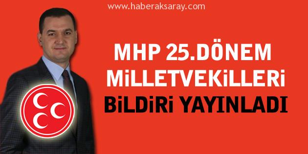 MHP 25.Dönem Milletvekilleri bildiri yayınladı