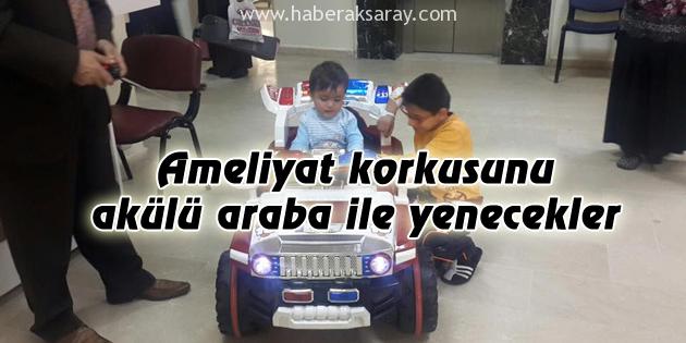 Çocuklar ameliyathaneye akülü arabayla gidiyor