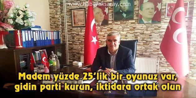 MHP İl Başkanı Kaşlı: Gidin parti kurun, iktidara ortak olun