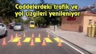 Caddelerdeki trafik ve yol çizgileri yenileniyor