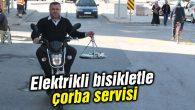 Elektrikli bisikletle çorba servisi