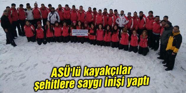 ASÜ'lü kayakçılar şehitlere saygı inişi yaptı