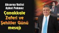 Vali Pekmez'in Çanakkale Zaferi ve Şehitler Günü mesajı