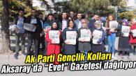 Ak Gençlik 'Evet' Gazetesini Aksaray'da dağıtmaya başladı