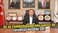 Şu an Cumhurbaşkanı'nda sınırsız ve sorumsuz bir yetki var!