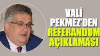 Vali Pekmez'den referandum açıklaması