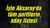 İşte Aksaray'da tüm partilerin aday listesi