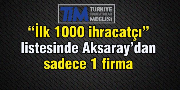Aksaray'dan sadece 1 firma ilk 1000 ihracatçı arasında
