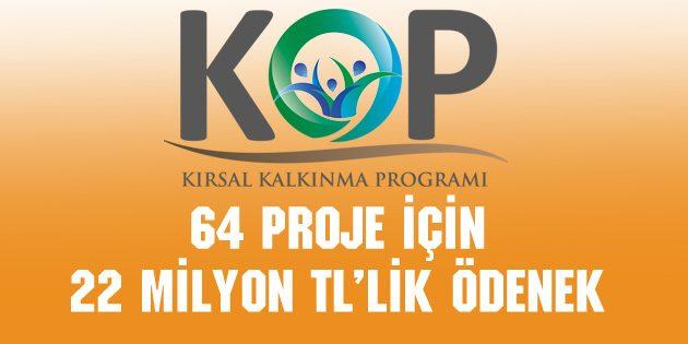 64 proje için 22 Milyon TL'lik ödenek