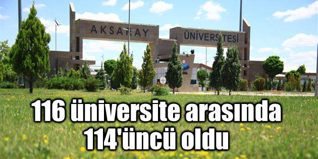 ASÜ, 116 üniversite arasında 114'üncü oldu