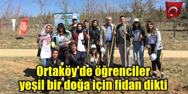 Ortaköy'de öğrenciler yeşil bir doğa için fidan dikti