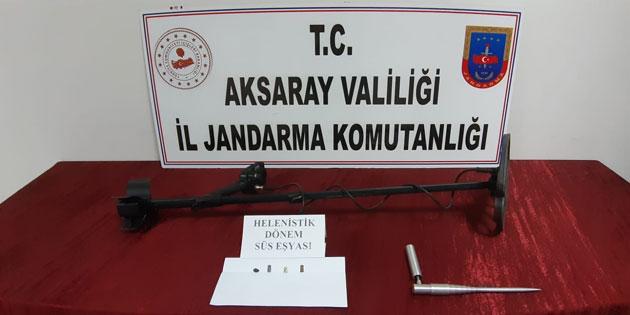 Aksaray'da kaçak kazı yapan 4 kişi suçüstü yakalandı!
