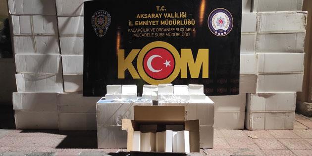 Aksaray'da 1 milyon adet kaçak makaron ele geçirildi