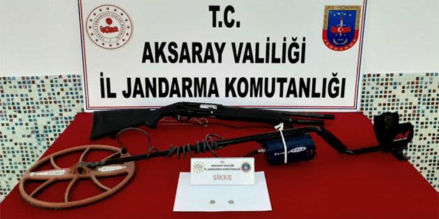 Aksaray'da kaçak kazı operasyonu! 1 kişi suçüstü yakalandı