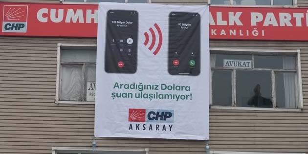 Aksaray CHP'den yeni afiş; 'Aradığınız dolara şu anda ulaşılamıyor'