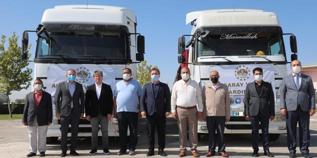 Aksaray'dan sel bölgesine 2 tır yardım malzemesi gönderildi