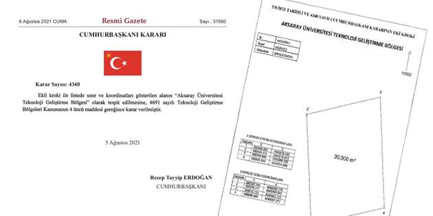 Aksaray Üniversitesi Teknoloji Geliştirme Bölgesi alanları belirlendi